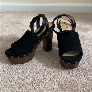 Black and brown faux suede platform heeled sandal